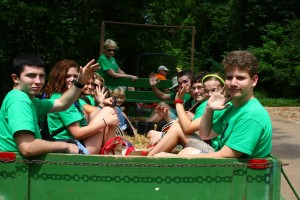 Campers enjoy a hayride at Youth Camp, 2013.