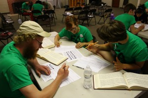 "Students learn about Sacred Harp music by trying their hand at writing a song during the ""Composium Workshop"" at Youth Camp, 2013."
