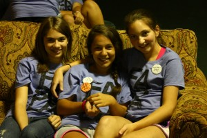 Girls hang out during recreation time, Youth Camp, 2013.
