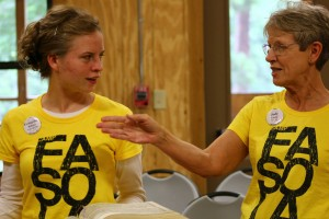 Camp instructor Judy Caudle teaching a leading workshop at Youth Camp, 2013.