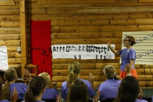 Young campers learn the rudiments of Sacred Harp singing at Youth Camp, 2013.