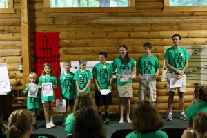 Campers line up to form a major scale in a rudiments class at Youth Camp, 2013.